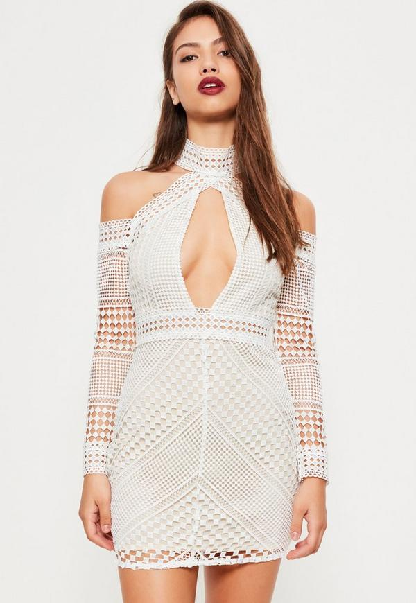 White Lace Cold Shoulder Bodycon Dress
