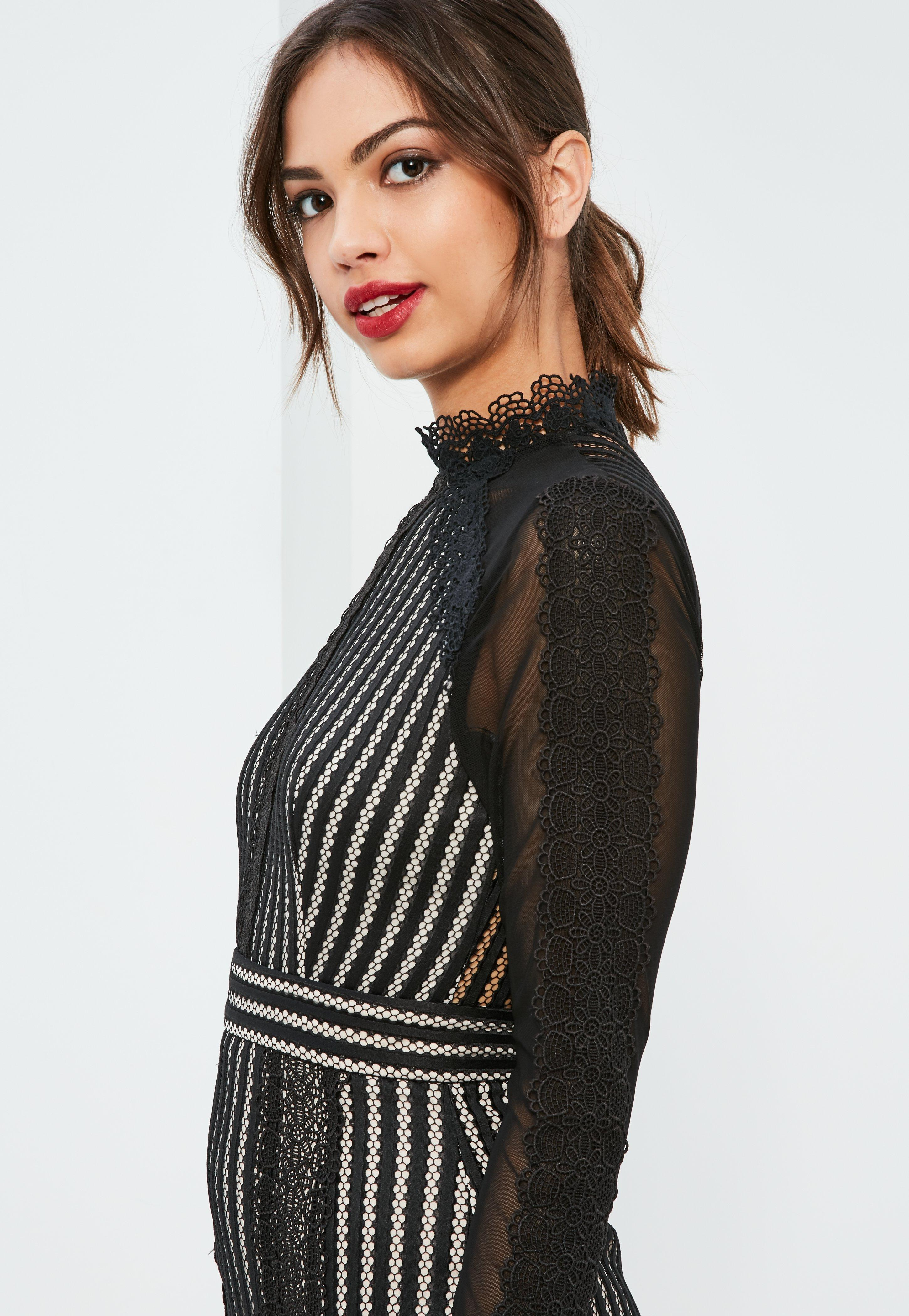 Black High Neck Lace Bodycon Dress