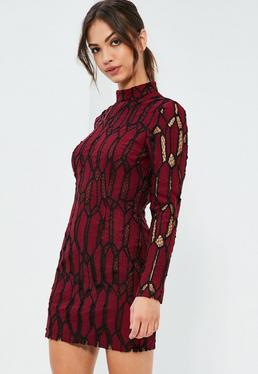 Burgundy Lace High Neck Bodycon Dress