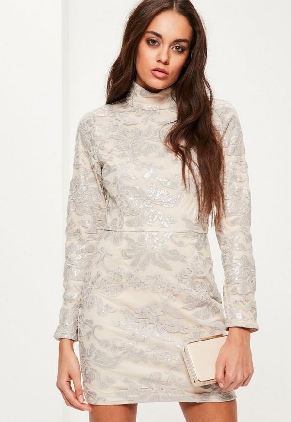 Grey Sequin Lace Bodycon Dress