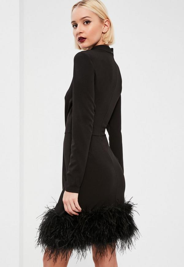 Black feather dress missguided