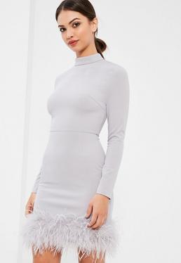 Grey High Neck Feather Trim Dress