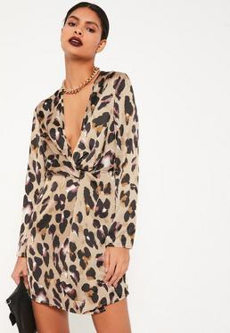 Nude Animal Print Silky Plunge Wrap Shift Dress