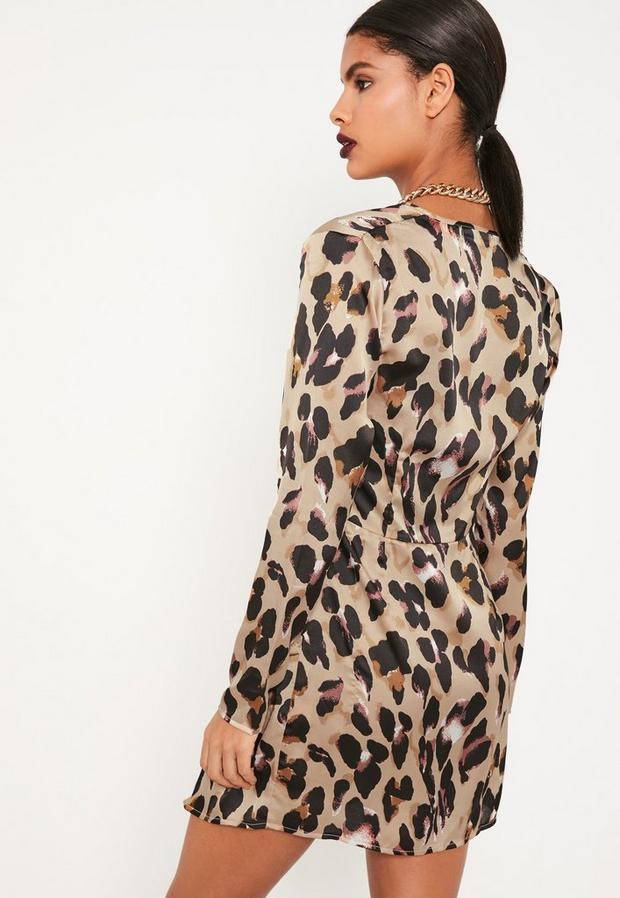 Missguided - Animal Print Silky Plunge Wrap Shift Dress - 3
