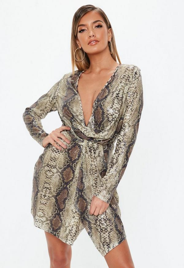 b84907809f Nude Snake Print Sequin Plunge Wrap Shift Dress