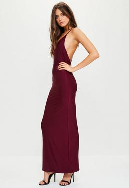 Burgundy Slinky Cowl Back Strappy Maxi Dress