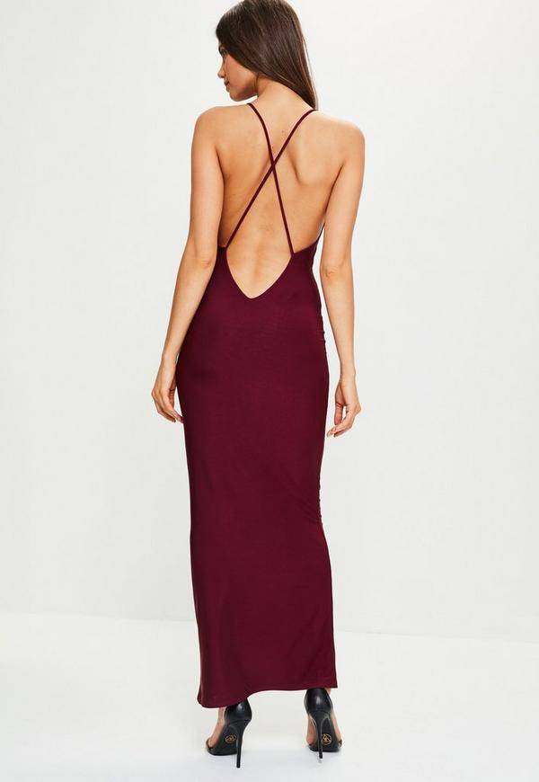 Burgundy Slinky Cowl Back Strappy Maxi Dress Missguided