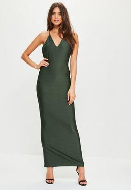 Green Slinky Cowl Back Strappy Maxi Dress