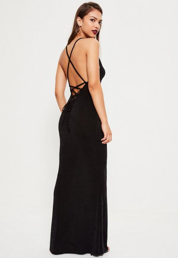 Black Cross Back Cowl Front Maxi Dress