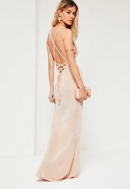 Nude Cross Back Cowl Front Maxi Dress
