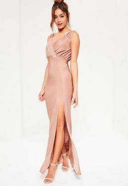 Nude Eyelet Plunge Maxi Dress