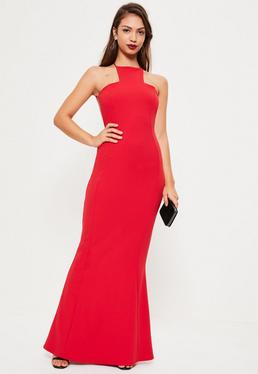 Red Square Neck Cross Back Maxi Dress