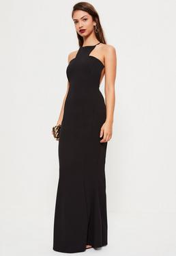 Black Square Neck Cross Back Maxi Dress