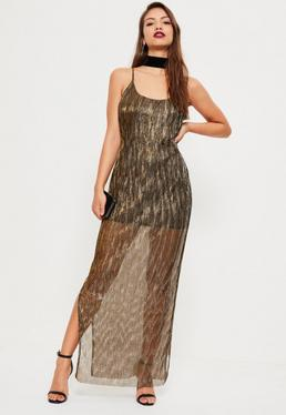Bronze Gold Foil Pleat Maxi Dress