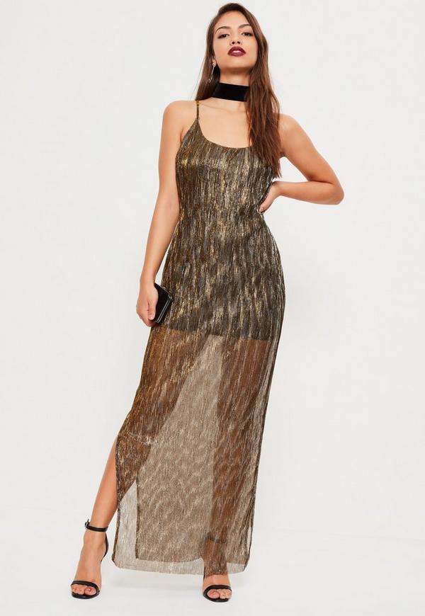 Bronze Gold Foil Pleat Maxi Dress