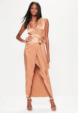 Gold Silky Sleeveless Wrap Tie Maxi Dress