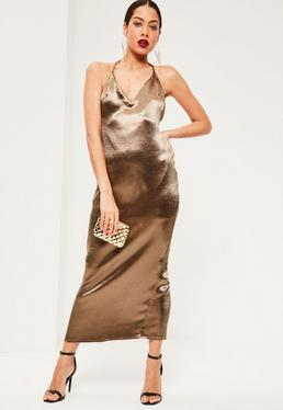 Bronze Silky Plunge Halter Neck Maxi Dress