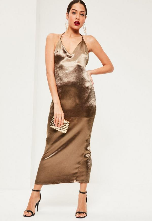 Bronze Silky Plunge Halter Neck Maxi Dress
