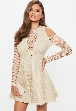 Nude Lace Cold Shoulder Embroidered Skater Dress