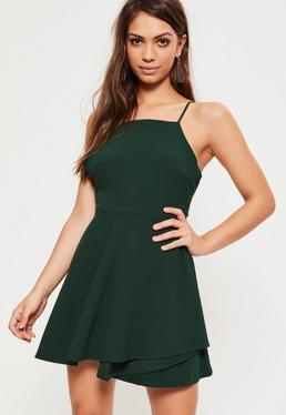 Green Square Neck Open Back Skater Dress