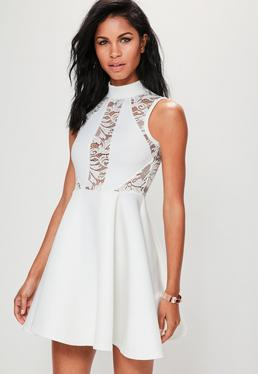 White High Neck Lace Panel Scuba Skater Dress