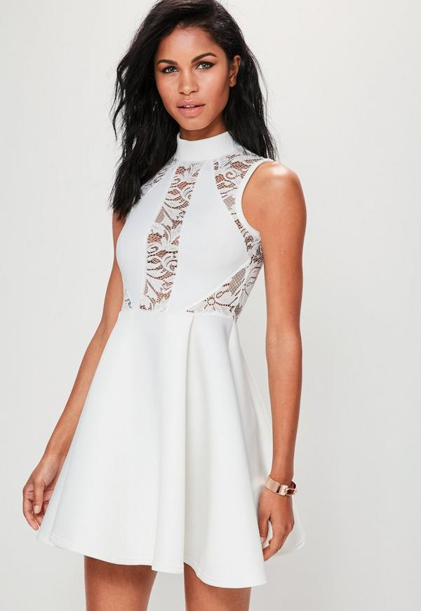 White High Neck Lace Panel Scuba Skater Dress