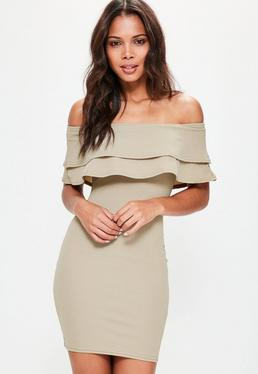Nude Layered Frill Bandeau Bodycon Dress