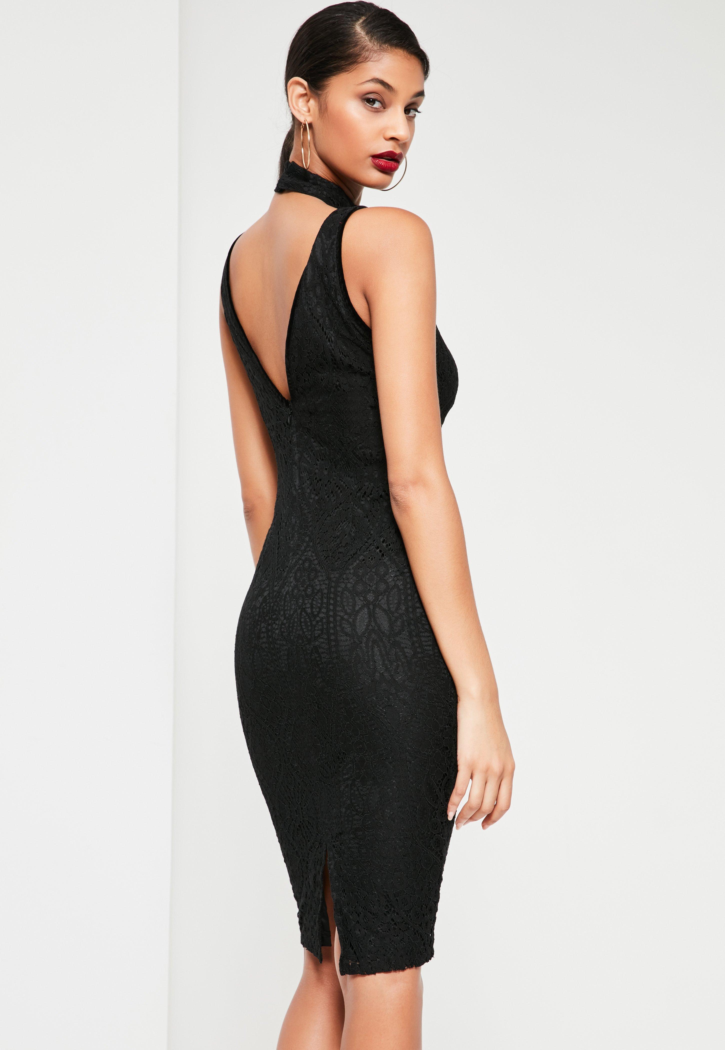 Black Lace Harness Detail Midi Dress