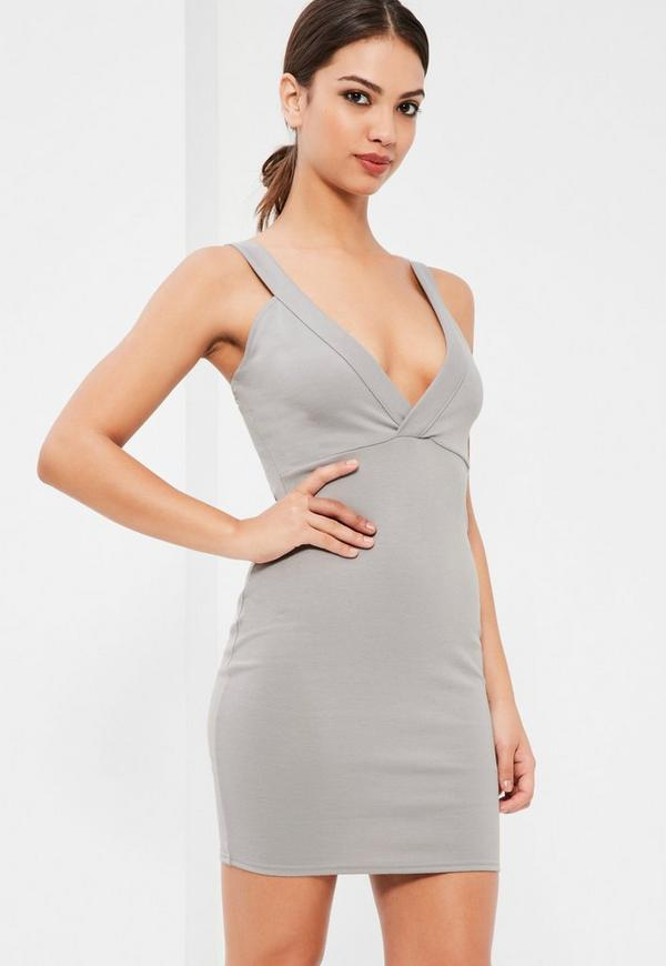 Grey Ponte Plunge Bodycon Dress