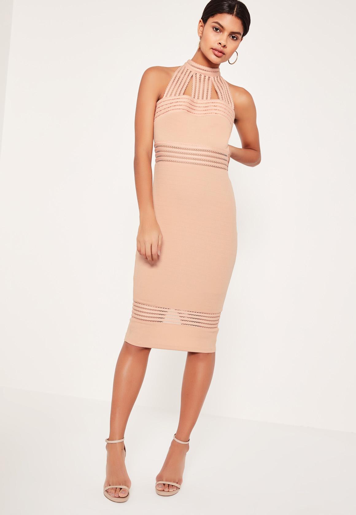 Pink Binded Choker Neck Midi Dress