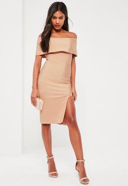 Beżowa bandażowa sukienka bardot midi