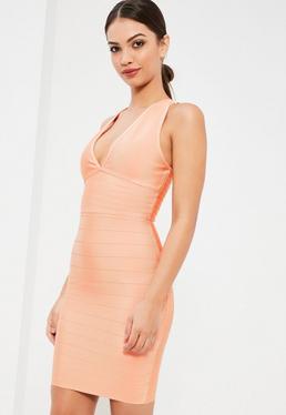 Beżowa bandażowa mini sukienka