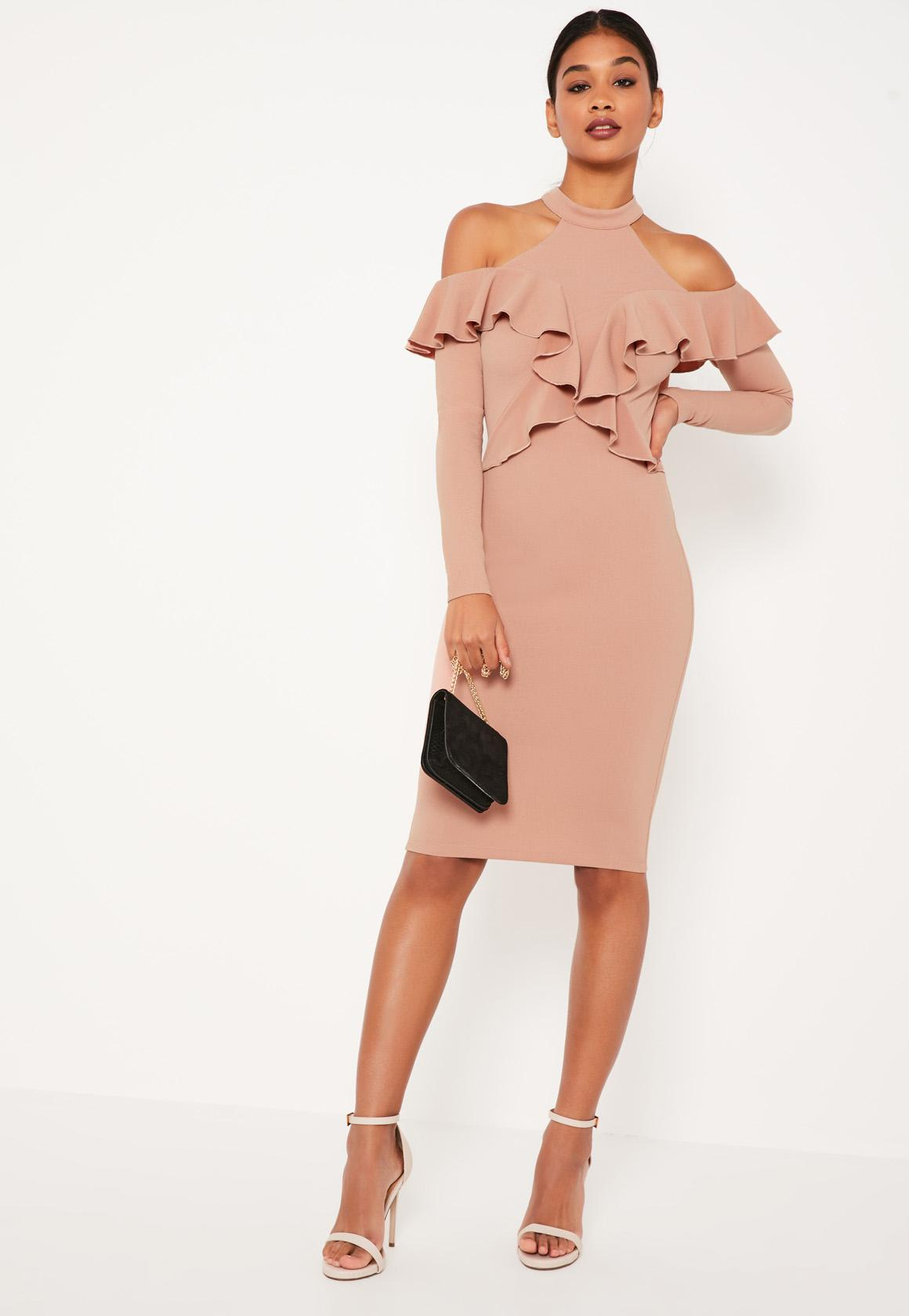 Frill Cold Shoulder Mini Dress - Pink Missguided ek9aeX
