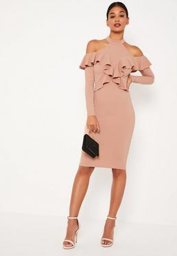 Pink Frill Cold Shoulder Midi Dress