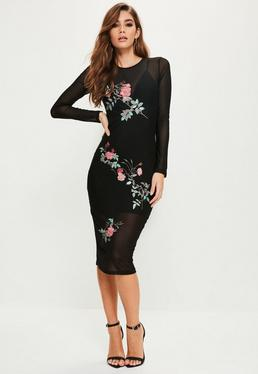 Black Mesh Embroidered Midi Dress
