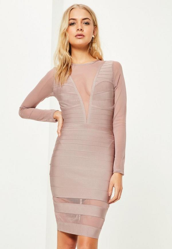 Purple Long Sleeve Mesh Insert Midi Dress