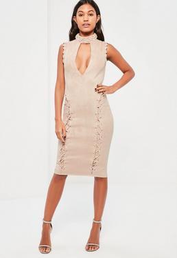 Nude Faux Suede Lattice Choker Midi Dress