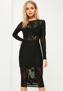 Black Mesh Long Sleeve Midi Dress