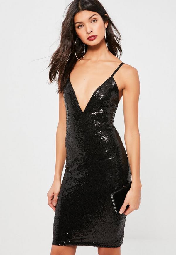 Black Sequin Plunge Midi Dress
