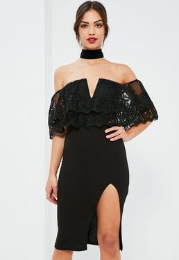 Black Lace Double Layer Midi Dress