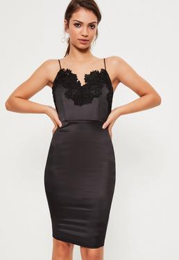 Black Satin Embroidered Midi Dress