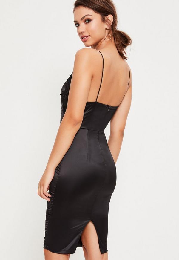 Black Satin Embroidered Midi Dress | Missguided