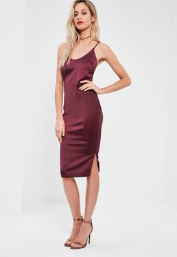 Burgundy Silky Plunge Midi Dress