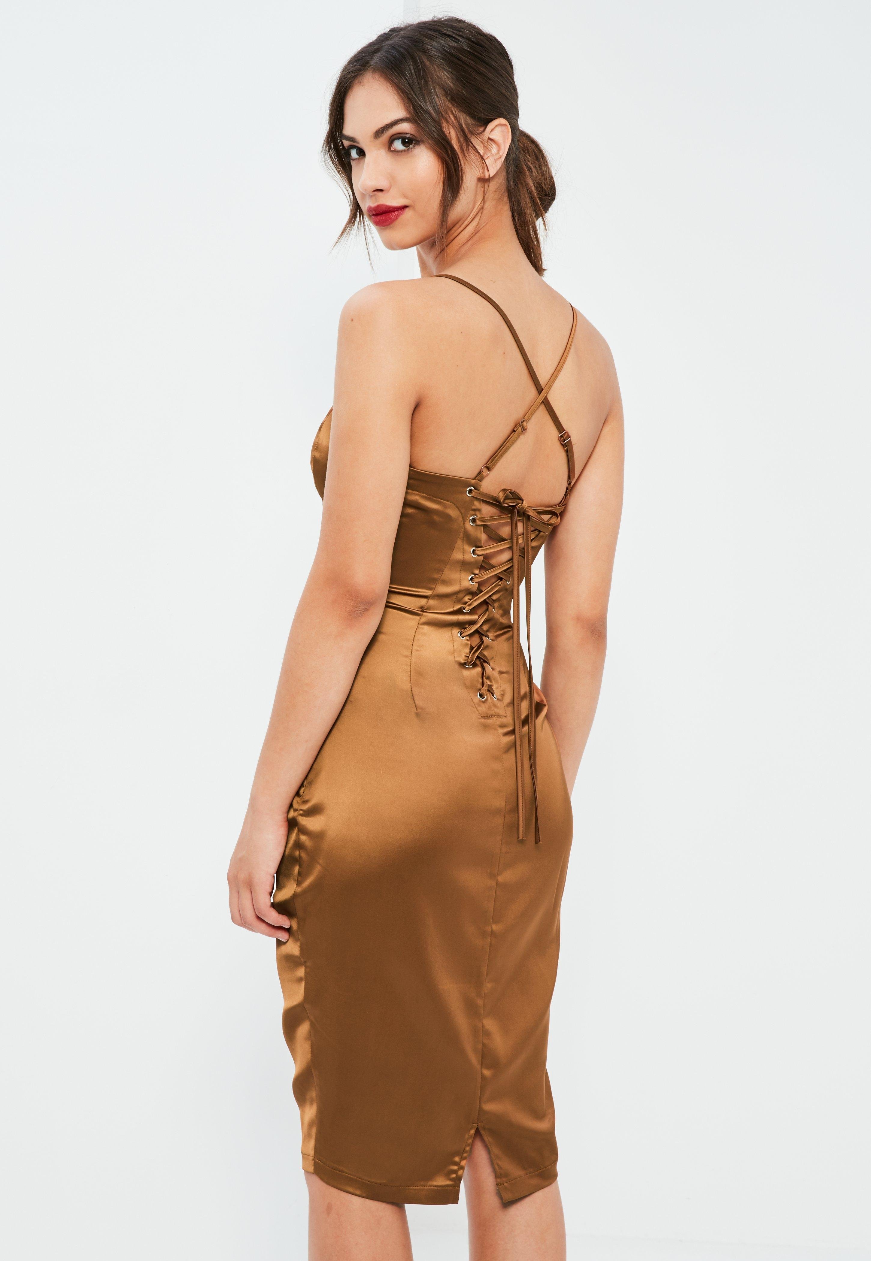 Brown Silky Plunge Lace Up Back Midi Dress
