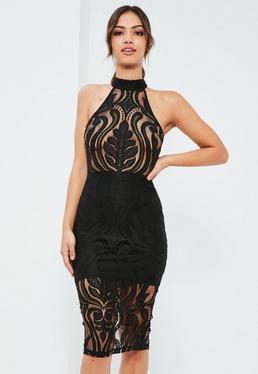 Black Lace High Neck Sleeveless Midi Dress