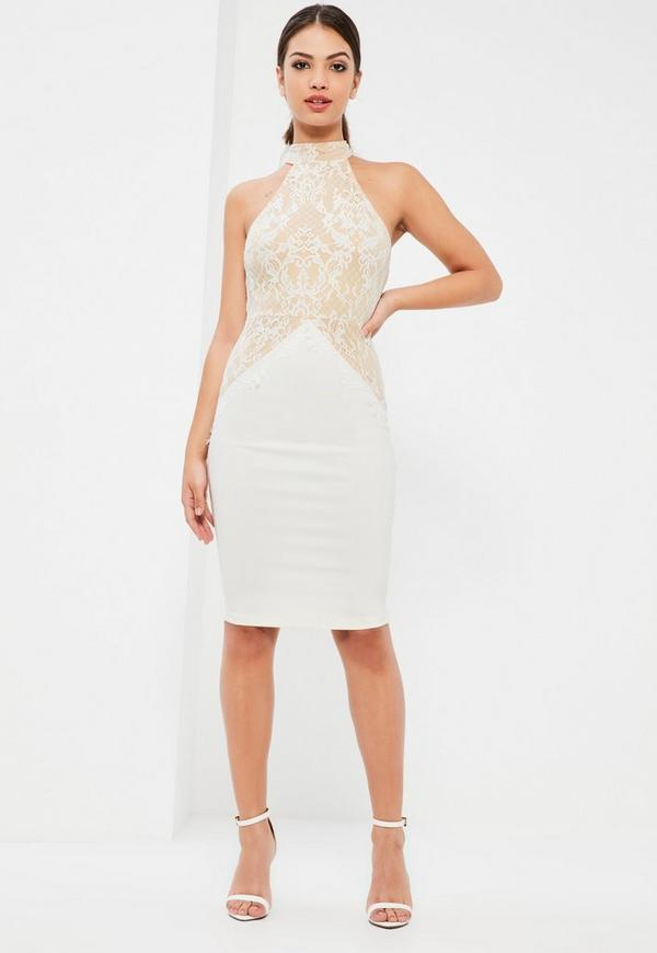 white lace high neck contrast midi dress missguided