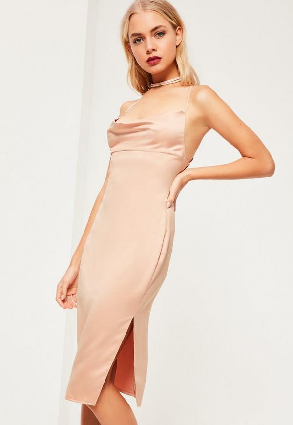 Pink Silky Cowl Neck Midi Dress