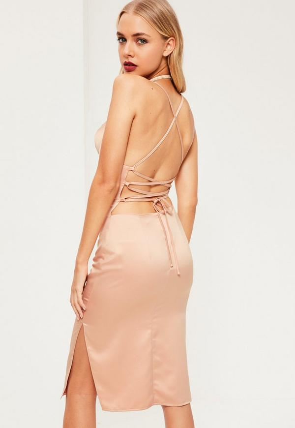 Pink Silky Cowl Neck Midi Dress Missguided