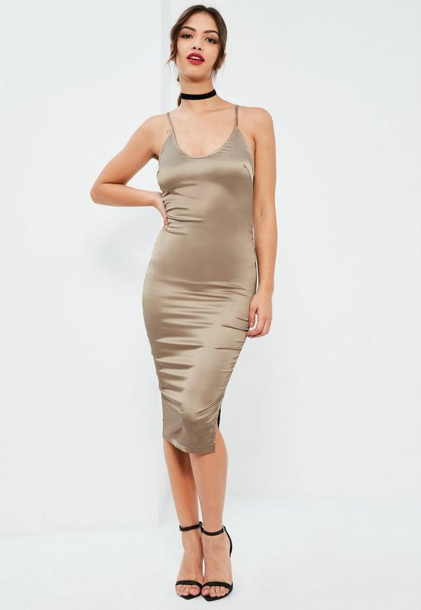 Nude Plunge Silky Midi Dress