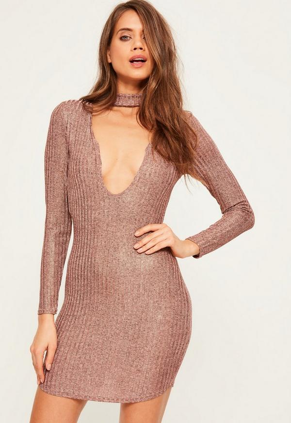 Pink Knitted Rib Choker Neck Bodycon Dress